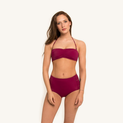 Bikini Bandeau Top in Berry color with removable shoulder straps and elastic back strings front view