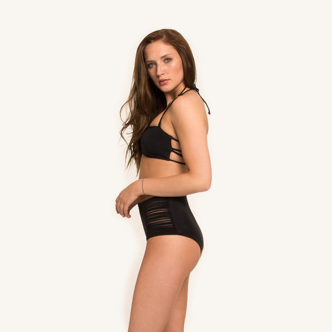 woodlike ocean bikini high waist pant in black color seamless style strings on side