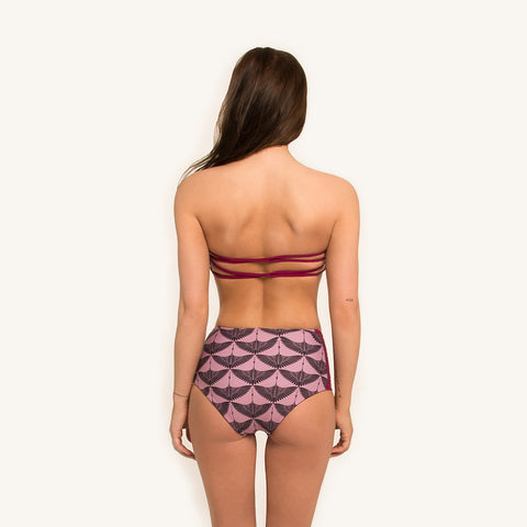 woodlike ocean bikini high waist pant in print color reversible seamless style strings on side back view