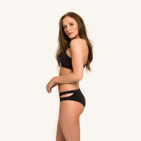 woodlike ocean bikini Hipster Bottoms in black color front with cut outs at the side