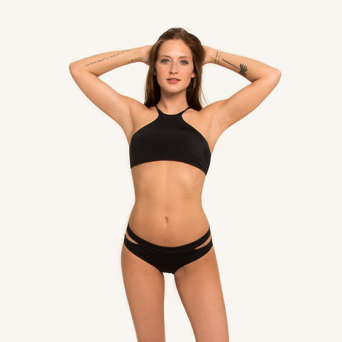 woodlike ocean Bikini Halter Top seamless style in black color with adjustable shoulder straps  front view