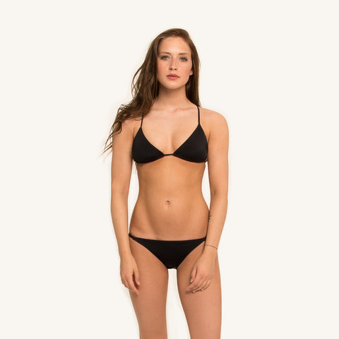 woodlike ocean bikini triangle top in black color with adjustable back straps and removable padding front view