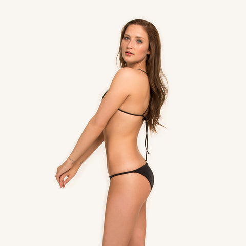 woodlike ocean bikini pant triangle bottom in black color with elastic side string in seamless style side view