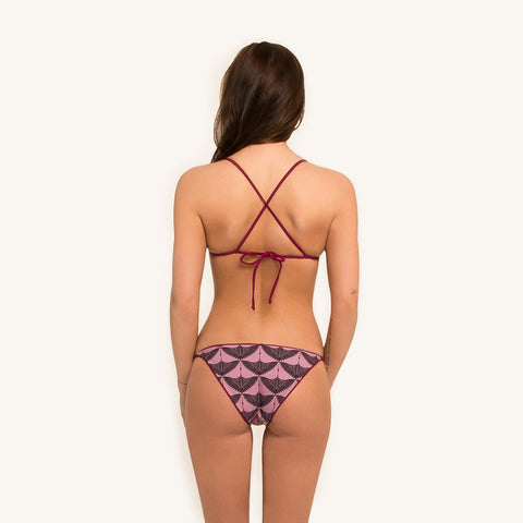 woodlike ocean bikini triangle top in print color with adjustable kriss kross back straps and removable padding back view