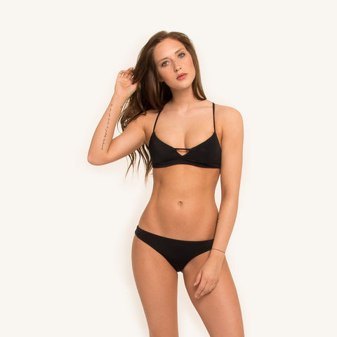 woodlike ocean bikini bustier top seamless style in black color racer back and adjustable shoulder straps front view