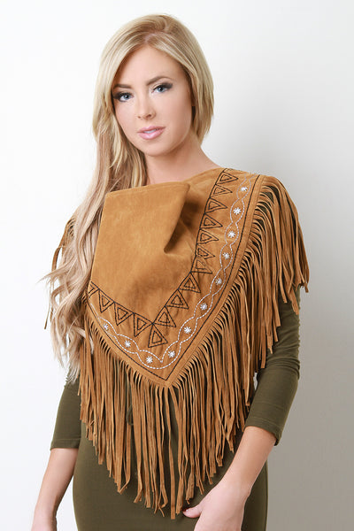 Embroidered Fringe Suede Triangle Scarf for $ 0.41 at KenKay Apparel