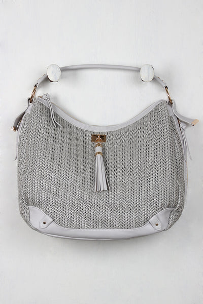 Straw and Vegan Leather Tassel Handbag for $ 0.99 at KenKay Apparel