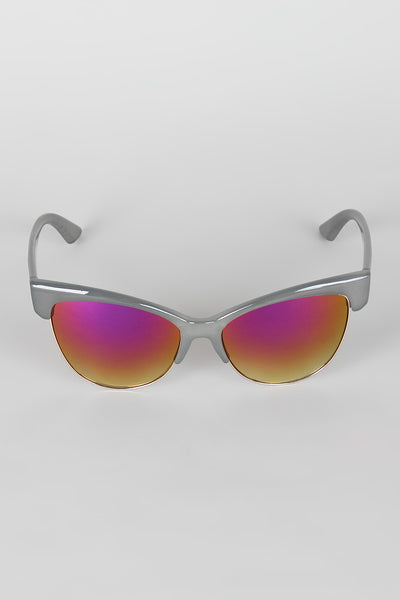 Semi-Rimless Wild Cat Textured Sunglasses for $ 0.15 at KenKay Apparel