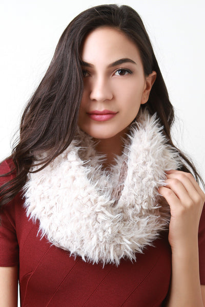 Double Sided Furry and Chunky Knit Circle Scarf for $ 0.19 at KenKay Apparel