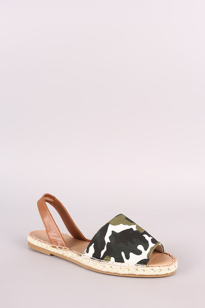 Bamboo Camouflage Espadrille Slingback Flat Sandal for $ 0.31 at KenKay Apparel