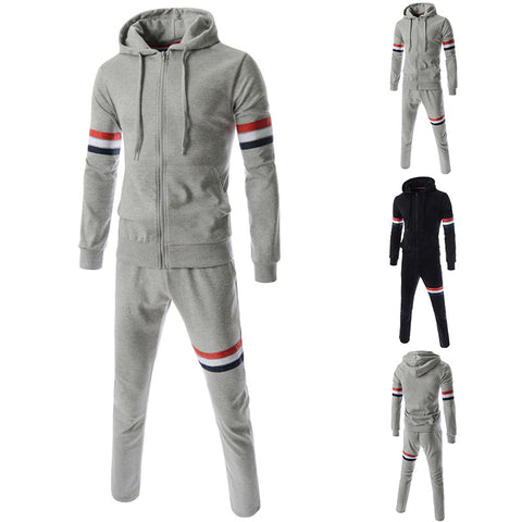 Men Spring/Autumn Hoodies Set/Sweatshirts+Pant Ribbon Design Mens Tracksuits Sportwear  3XL
