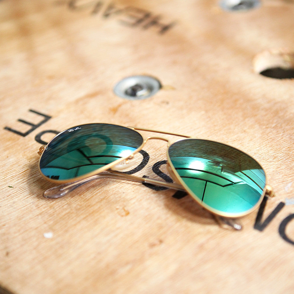 Ray-Ban AVIATOR FLASH LENSES - GOLD GREEN FLASH