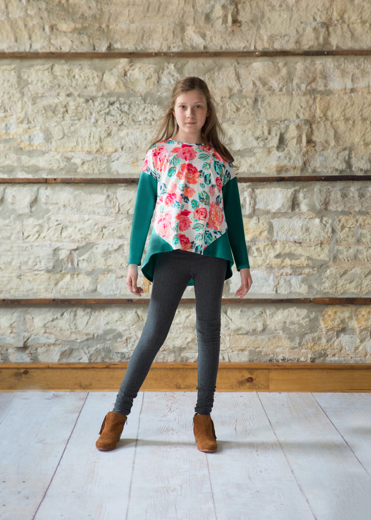 Gathered Back Top - Teal Floral
