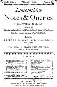 Lincolnshire Notes & Queries - April, January & July 1890
