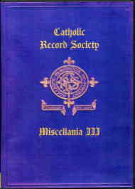 Catholic Record Society. Miscellanea III