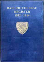 Image unavailable: Balliol College Register Oxford 1832-1914