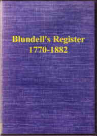 Blundell's Register 1770-1882 Tiverton Devon