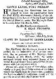 New South Wales Crown Land Lease Claims 1848