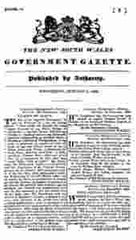 Image unavailable: New South Wales Government Gazette 1833