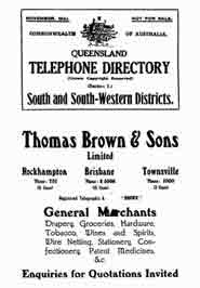 Queensland Telephone Directory 1931 South and South Western Districts