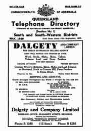 Queensland Telephone Directory 1940 South and South Western Districts