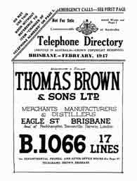 Queensland Telephone Directory 1947 South and South Western Districts