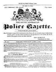 Image unavailable: South Australian Police Gazette 1868-70