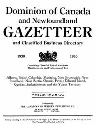 Gazetteer and Business Directory, Canada published in 1930 (Inc. Newfoundland)