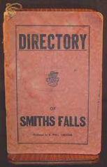 Directory of Smiths Falls, Ontario c1948 (has household  and business entries, etc., & a map)