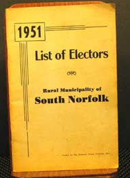 1951 List of Electors for Rural Municipality of South Norfolk, Manitoba