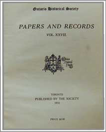 Papers & Records Vol. XXVII (1931), Ontario Historical Society