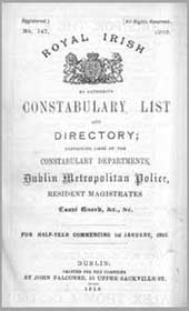 Royal Irish Constabulary List and Directory, January 1915
