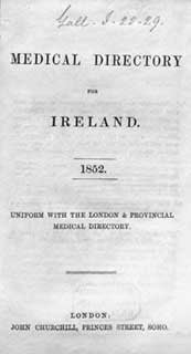 Medical Directory for Ireland, 1852