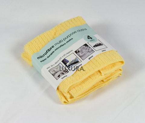 Microfibre Cleaning Cloth - Yellow - 4 Pack