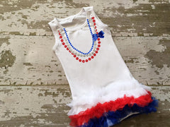 Chevron Heart 4th of July Heart Tunic with Bow