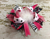 Absolute Black White Hot PInk Boutique OTT Bow