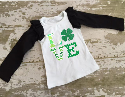 LOVE Shamrock Baseball Ruffle Shirt