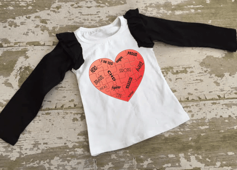 CHD Awareness Ruffled Baseball Shirt