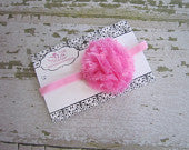 Bright Pink Frayed Puff on Pink Skinny Headband