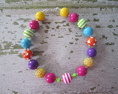 Candyland Sweet Shoppe Rainbow Inspired Chunky Bead Necklace