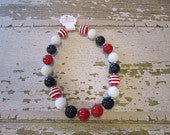 Chicago Blackhawks Inspired Chunky Bead Necklace