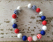 Chicago Cubs/Fourth of July Inspired Chunky Bead Necklace
