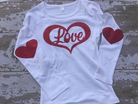 Glitter Love Longsleeve Shirt with Glitter Heart Elbow Patches