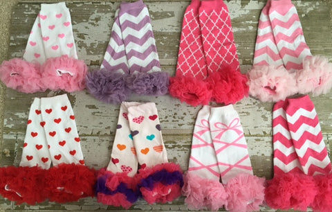 Assorted Valentines Day Ruffled Legwarmers
