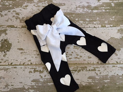 Black with White Heart Bow Back Pants