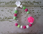 Green and Pink Flower Chunky Bead Necklace