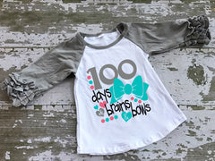 100 Days of Brains and Bows Ruffled Raglan Shirt