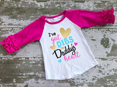 Dibs On Daddy's Heart Ruffled Sleeve Baseball Tshirt