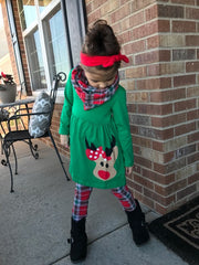 Plaid Reindeer Winter Leggings, Tunic and Scarf Outfit
