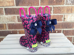 Light Up Hot Pink and Navy Cheetah Rain Boots with Navy Bows